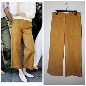 Everlane Wide-Leg Crop Yellow/Gold Utility Pants 8